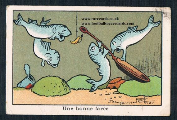 1920s angling fisherman fish frying pan card